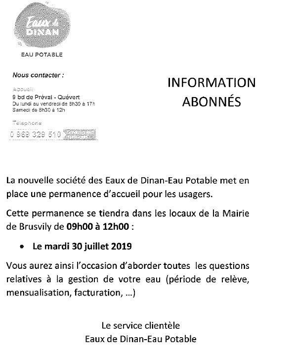 Permanence 30/07/2019 EAUX DE DINAN